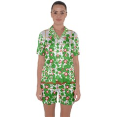 Flowering Vine Vine Ivy Flowers Satin Short Sleeve Pyjamas Set