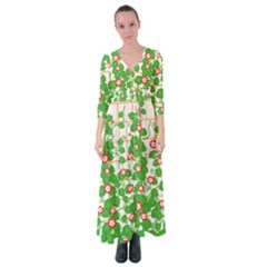 Flowering Vine Vine Ivy Flowers Button Up Maxi Dress