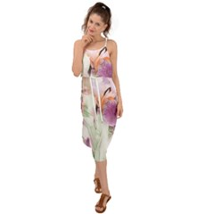 Iris Digital Painting Flower Pastel Waist Tie Cover Up Chiffon Dress
