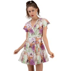 Iris Digital Painting Flower Pastel Flutter Sleeve Wrap Dress