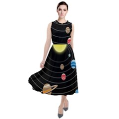 Solar System Planets Sun Space Round Neck Boho Dress
