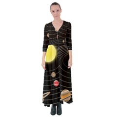 Solar System Planets Sun Space Button Up Maxi Dress