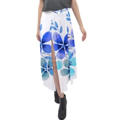 Watercolour Flowers Watercolor Velour Split Maxi Skirt by Pakrebo
