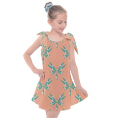 Turquoise Dragonfly Insect Paper Kids  Tie Up Tunic Dress by Pakrebo