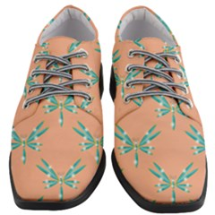 Turquoise Dragonfly Insect Paper Women Heeled Oxford Shoes by Pakrebo
