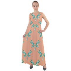 Turquoise Dragonfly Insect Paper Chiffon Mesh Boho Maxi Dress