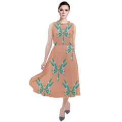 Turquoise Dragonfly Insect Paper Round Neck Boho Dress
