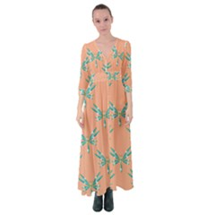 Turquoise Dragonfly Insect Paper Button Up Maxi Dress