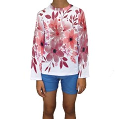 Watercolour Flowers Red Watercolor Kids  Long Sleeve Swimwear by Pakrebo