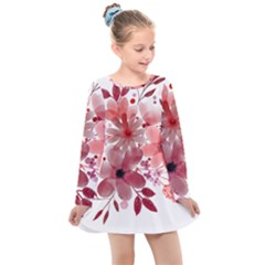 Watercolour Flowers Red Watercolor Kids  Long Sleeve Dress