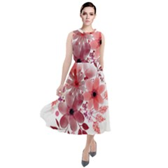 Watercolour Flowers Red Watercolor Round Neck Boho Dress