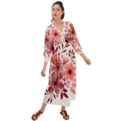 Watercolour Flowers Red Watercolor Grecian Style  Maxi Dress