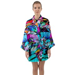 Abstract Flower Painting Long Sleeve Kimono Robe by Pakrebo