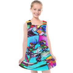 Abstract Flower Painting Kids  Cross Back Dress