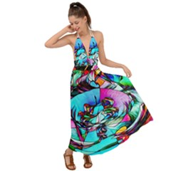 Abstract Flower Painting Backless Maxi Beach Dress by Pakrebo