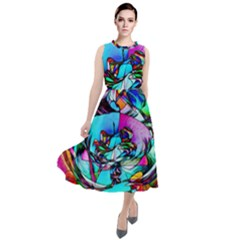 Abstract Flower Painting Round Neck Boho Dress