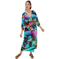 Abstract Flower Painting Grecian Style  Maxi Dress
