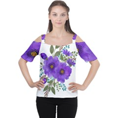 Watercolour Flowers Spring Floral Cutout Shoulder Tee by Pakrebo