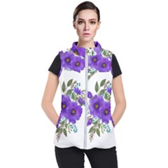 Watercolour Flowers Spring Floral Women s Puffer Vest