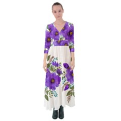 Watercolour Flowers Spring Floral Button Up Maxi Dress