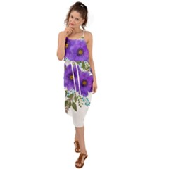 Watercolour Flowers Spring Floral Waist Tie Cover Up Chiffon Dress