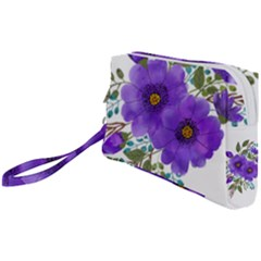 Watercolour Flowers Spring Floral Wristlet Pouch Bag (small)