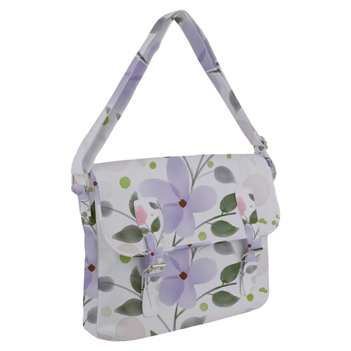 Spring Watercolour Flowers Buckle Messenger Bag