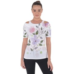 Spring Watercolour Flowers Shoulder Cut Out Short Sleeve Top