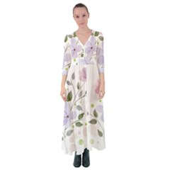 Spring Watercolour Flowers Button Up Maxi Dress