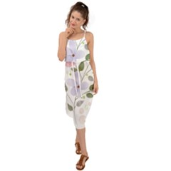 Spring Watercolour Flowers Waist Tie Cover Up Chiffon Dress