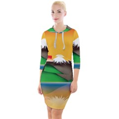 Mount Fuji Japan Lake Sun Sunset Quarter Sleeve Hood Bodycon Dress