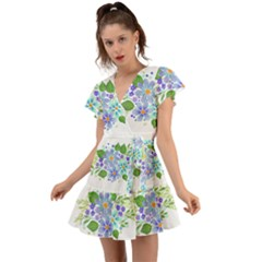 Watercolour Flowers Bouquet Spring Flutter Sleeve Wrap Dress