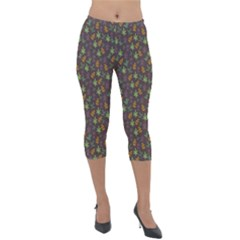 Tribal Leaves House Art Tribal Art Lightweight Velour Capri Leggings  by Pakrebo