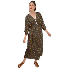 Tribal Leaves House Art Tribal Art Grecian Style  Maxi Dress