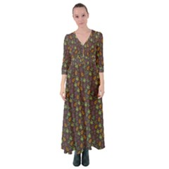 Tribal Leaves House Art Tribal Art Button Up Maxi Dress