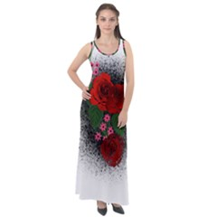 Watercolour Flowers Watercolor Roses Sleeveless Velour Maxi Dress