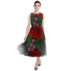 Watercolour Flowers Watercolor Roses Round Neck Boho Dress