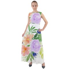 Watercolour Flowers Spring Chiffon Mesh Boho Maxi Dress