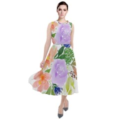 Watercolour Flowers Spring Round Neck Boho Dress
