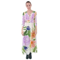 Watercolour Flowers Spring Button Up Maxi Dress