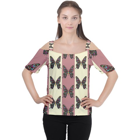 Butterflies Pink Old Old Texture Cutout Shoulder Tee by Pakrebo