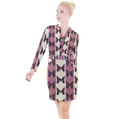 Butterflies Pink Old Old Texture Button Long Sleeve Dress