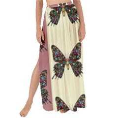 Butterflies Pink Old Old Texture Maxi Chiffon Tie-up Sarong by Pakrebo