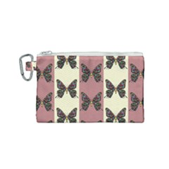 Butterflies Pink Old Old Texture Canvas Cosmetic Bag (small) by Pakrebo