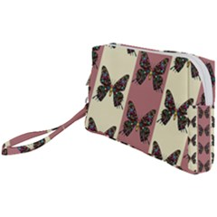 Butterflies Pink Old Old Texture Wristlet Pouch Bag (small)
