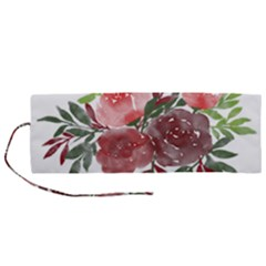 Watercolour Flowers Roses Watercolor Roll Up Canvas Pencil Holder (m) by Pakrebo