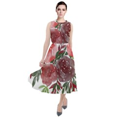 Watercolour Flowers Roses Watercolor Round Neck Boho Dress