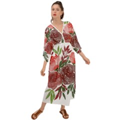 Watercolour Flowers Roses Watercolor Grecian Style  Maxi Dress