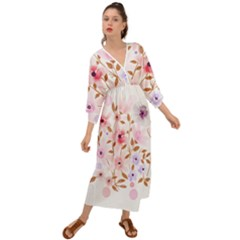 Flowers Watercolor Grecian Style  Maxi Dress