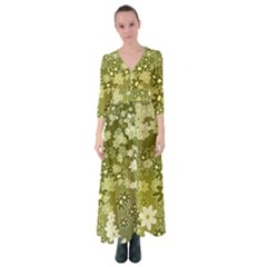 Flowers Abstract Background Button Up Maxi Dress